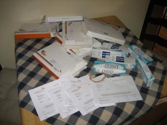 Linseesker, embalasje og fakturakopier